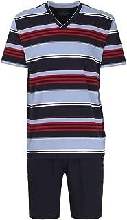 GÖTZBURG kurz Schlafanzug Pyjama ÜBERGRÖSSEN Herren Rundhals gestreift blau