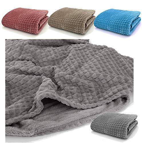 heimtexland ® Kuscheldecke Waffel-Piqué Decke 200x150 Super Soft Flanell Wohndecke Atmungsaktiv Wärmeregulierend Grau Typ647