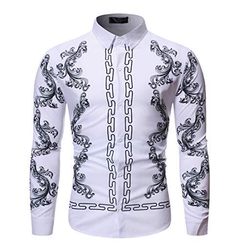 MENHG Men's Paisley Shirt Jacquard Silk Shirts Dragon Tattoo Print Lapel Dress Shirts Long Sleeve Blouse Pullover Men Lapel Sweatshirt Casual Fashion Formal Sweater Outwear Costume Tops Jacket Coat