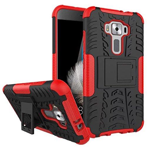FaLiAng Schutzhülle Asus Zenfone 3 ZE520KL Hülle, Dual Layer Rüstung Kombination Stoßfest Heavy Duty Schild Harte Schale für Asus Zenfone 3 ZE520KL (Rot)