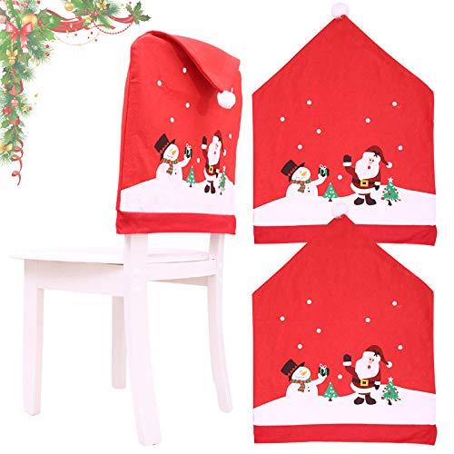 KARAA 2Stück Stuhlhussen Weihnachten Rot Stuhlbezug Weihnachtsdeko Stuhlabdeckung für Stuhlrücken Wetterfest Abendessen Party Bankett
