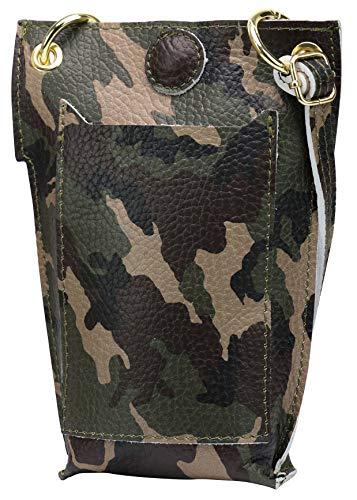SH Leder Jessy G298 - Bolso bandolera de piel para mujer, multifunción, bolso para el hombro, extraíble y ajustable, hasta 6,8 pulgadas, 14 x 20 cm, color Verde, talla Small