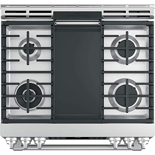 GE Cafe CGS986SELSS 30 Inch Slide-in Gas Range with Sealed Burner Cooktop, 5.6 cu. ft. Primary Oven Capacity in Stainless Steel