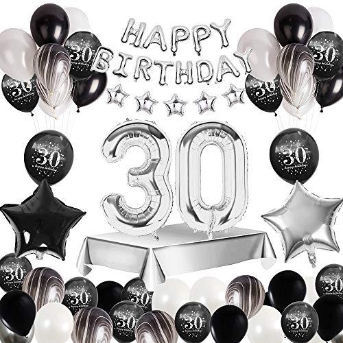 MMTX 30 Decorazione Festa di Compleanno, Palloncini Compleanno Argento Nero di banner Happy Birthday, stampa palloncini in lattice palloncini foil stella cuore per forniture per ragazzo uomo donna