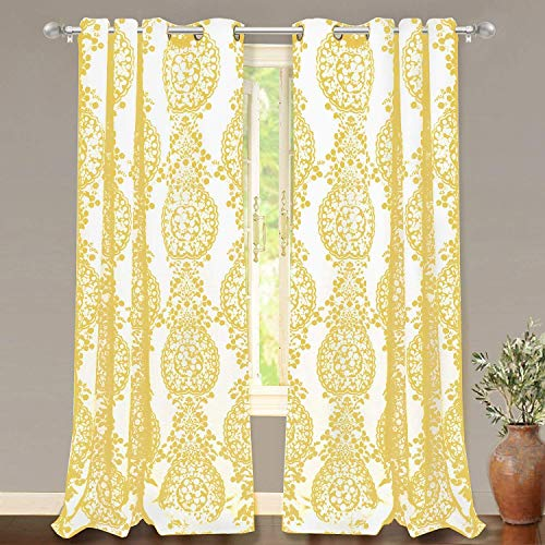 """DriftAway Samantha Thermal/Room Darkening Grommet Unlined Window Curtains, Floral/Damask Medallion Pattern, Set of Two Panels, Each 52""""x84"""" (Yellow)"""