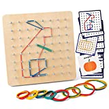 Coogam Geoboard de Madera con Tarjetas de Actividad y Bandas de Goma - 8x8 Geometría Geoboard Montessori Rompecabezas de Formas Inspire la Imaginación y Creatividad de Los Niños