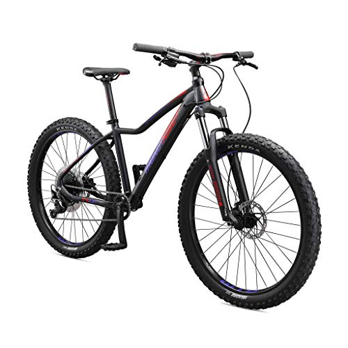 Mongoose Tyax Comp Adult Mountain Bike, 27.5-inch Wheels, Tectonic T2 Aluminum Frame, Rigid Hardtail, Hydraulic Disc Brakes, Womens Small Frame, Black