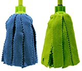 Pongal Pack 2 Fregonas Microfibra Tiras Verde y Azul