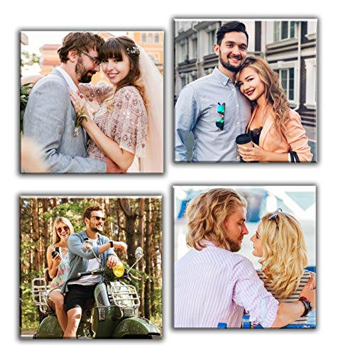 Quadro personalizzato con 4 foto su tela Set Asso cm. 60x60 diviso su 4 pannelli in legno - Idea Regalo Dimensione cm. 60x60 personal