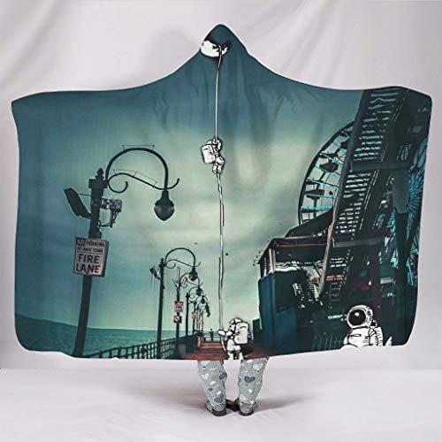 Wandlovers super zacht met capuchon deken abstract astronaut naar de maan Fantasy Spaceman pretpark druk sherpa fleece creatief 3D capuchon poncho omhang spelen