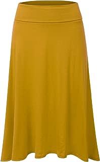 Women's High Waist Elastic Flared Midi Skirt
