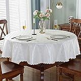 XQSSB Manteles de Mesa Rectangular Impermeable Anti Escaldaduras para Salón Cocina Comedor Antimanchas Un Diámetro Redondo Blanco Plateado de 320cm.