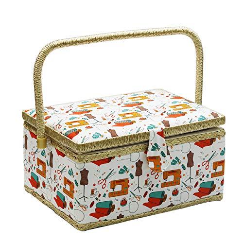 D & D, grande scatola da cucito, scatole da cucito con accessori, ideale per il kit da cucito con aghi da cucito, metro a nastro e forbici per la casa (arancione)