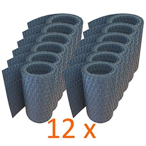 workingHOUSE Polyrattan-Sichtschutzstreifen, Sichtschutz für Doppelstabmatten Zaun, 19 x 255 cm (12 x Anthrazit)