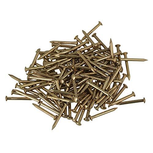 RDEXP 15mm Rundkopf Messing Antik Möbel Miniatur Nägel Packung mit 100 Stück