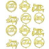 PRETYZOOM 12 Piezas Feliz Cumpleaños Cake Topper Set Acrílico Espejo Cake Topper Redondo Cupcake Toppers Cake Picks para Niños Cumpleaños Baby Shower Pastel Postre