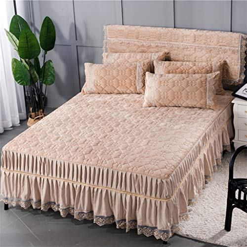 Zcq Katoen Suede Bed Rok Pak Machine Wasbaar Beddengoed Plissé Bed Cover Elastische Band Bevestiging Anti-slip Beschermende Kast-Stof (kleur: Een kameel, Maat : 180cmx200cm+kussenslopen)