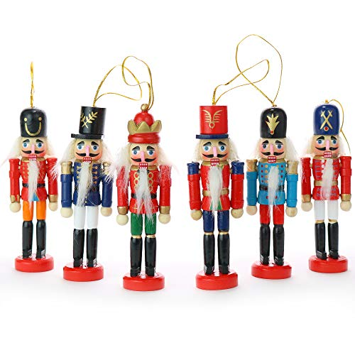 Ornativity Nutcrackers Hanging Ornament Figures - Christmas Mini Wooden King and Soldier Nutcracker