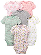 Simple Joys by Carter's Baby Mädchen 6er Pack Kurzarm Body ,Pink Dino, Floral, Mint, White, Gray ,24 Months