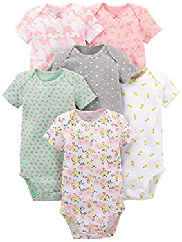 Simple Joys by Carter s Baby Girls  6-Pack Short-Sleeve Bodysuit Pink Dino Floral Mint White Gray 0-3 Months