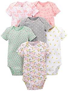 Simple Joys by Carter's - Body de manga corta para niña (6 unidades) ,Pink Dino, Floral, Mint, White, Gray ,12 Meses