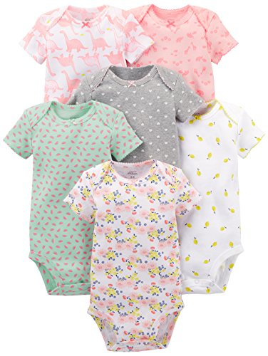 Simple Joys by Carter's - Body de manga corta para niña (6 unidades) ,Pink Dino, Floral, Mint,...