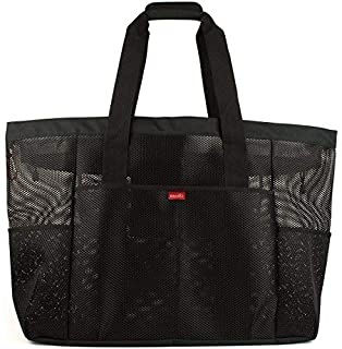 Oahu XL Mesh Beach Bag Tote Extra Heavy Duty with Zipper 8 Large Pockets and Bonus Waterproof Cellphone Case (Black)