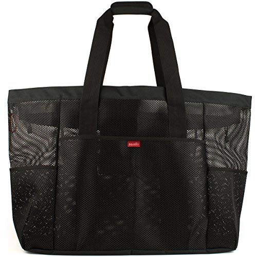 9ed6931343a8 OdyseaCo - Oahu Mesh Beach Bag - Large Beach Tote Bag w  Zipper and Multiple