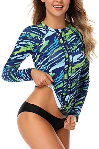 AXESEA Women Long Sleeve Rash Guard UPF 50+ UV Sun Protection Zip Front Swimsuit Shirt Printed Surfing Shirt Top,Blue,US 12