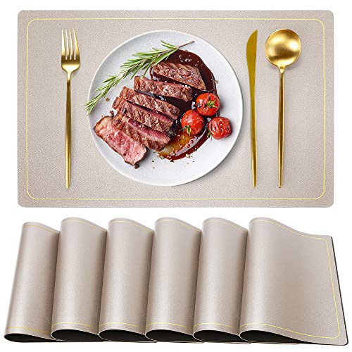 WEHVKEI Waterproof Leather Placemats, Wipeable Washable Waterproof Placemats, Champagne Indoor Table Mats Set of 6, Rectangle Easy Clean Placemats, Place Mats for Home Kitchen Dining Table (6 PCS)