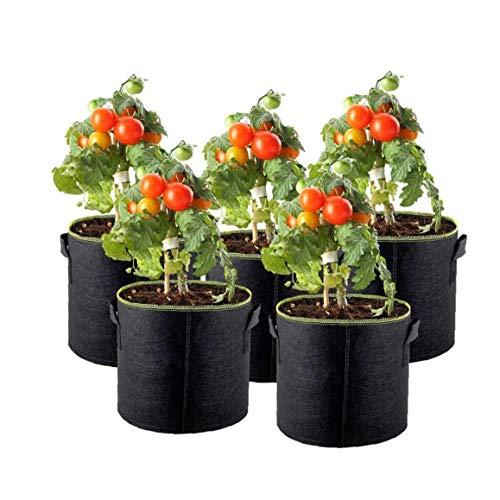 Pflanzen-Wachstumstaschen, Vlies-Pflanzenbehälter, 1,8 l, für den Garten, atmungsaktive Wurzeltasche mit Griffen für Gemüse, 5 Stück Gartenmöbel