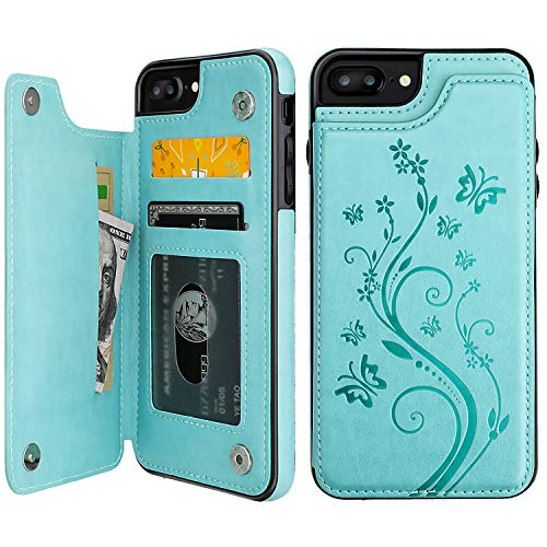 Vaburs iPhone 7 Plus iPhone 8 Plus Case Wallet with Card Holder, Embossed Butterfly Premium PU Leather Double Magnetic Buttons Flip Shockproof Cover for iPhone 7/8 Plus Case (Mint Green)