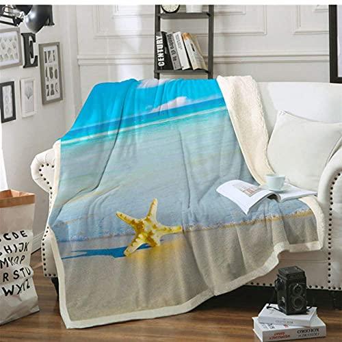 Manta con estampado de estrellas de mar y océano, con estampado en 3D, para el hogar, textiles suaves de sherpa, 203 x 152 cm