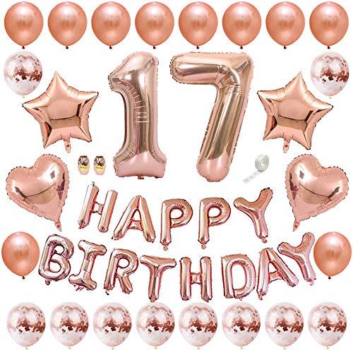 Huture Rose Gold 17. Geburtstag Deko Happy Birthday Girlande Banner Ballon Latex Luftballon Pailletten Ballon Nummer 17 Ballon Helium Folie Herz Stern Ballon Geburtstag Dekoration für Mädchen