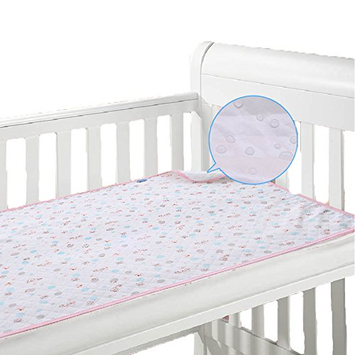 Monvecle Baby Infant Waterproof Cotton Changing Pads Washable Resuable Diapers Liners Mats, Pink 42' x 28'