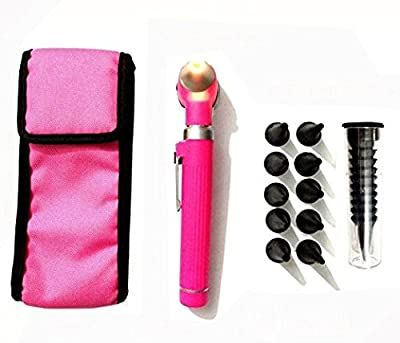 Tufail Compact Pocket Size Fiber Optic Otoscope Color (Pink)
