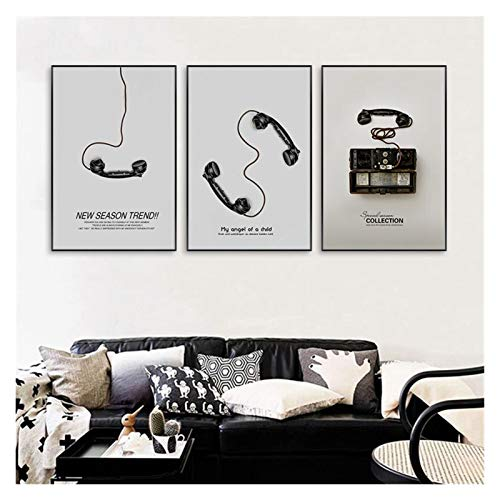 CCZWVH Vintage Póster Wall Art Canvas Pintura Nordic Negro y Negro Teléfono Retro Fotos Decorativas para la Sala de Estar Decoración de la casa 16x24x3 Inch Sin Marco