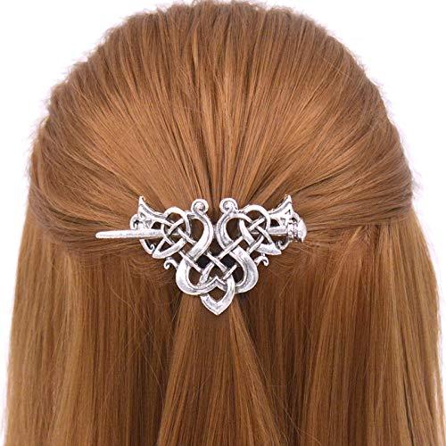 TIENAILING Silver Celtic Hair Slide Hairpin Viking Braids Hair Accessories Hair Barrette Celtic Knot Hair Pins Hair Clips Sticks Long Hair Jewelry Hair Accessories for Women (Style-C)