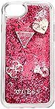 """[ゲス] iphone SE iPhone8 HARD CASE""""HEARTS""""GLITTER レッド"""