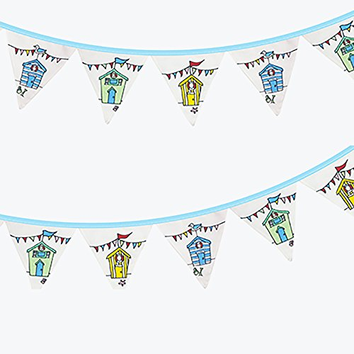 6ft Nautical Beach Huts Fabric Bunting Garland Seaside Nautical Accessory