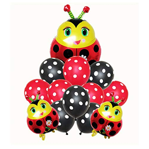 Amosfun Globos de mariquita, decoración para fiestas de cumpleaños, animales, 13 unidades, juego de globos de insectos, dibujos animados, mariquita, adornos de lámina de aluminio de látex