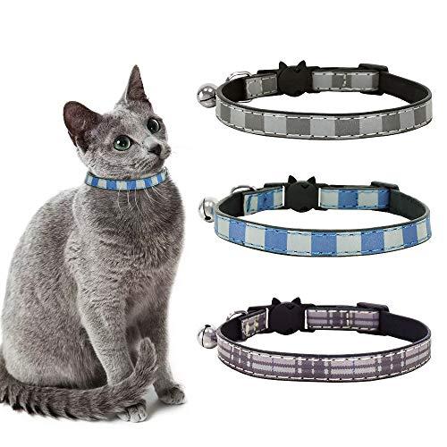 Eastlion Katzenhalsband Leder mit Fliege und Sicherheitsverschluss,Einstellbar Kitten Welpen Katzenhalsband,3pcs(Lila+Grau+Blau,18-27 cm)