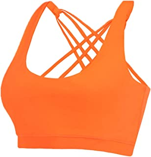 EILYEE Strappy Sports Bra for Women Medium Support Criss Cross Back Padded Bra Workout Fitness Yoga Tops