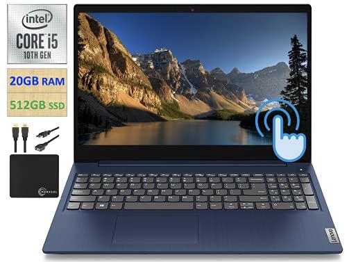 2021 Newest Lenovo IdeaPad 3 15.6' HD Touchscreen Laptop Computer, Quad-Core Intel i5-10210U Up to 4.2 GHz (Beats i7-7500U), 20GB DDR4 RAM, 512GB PCIe SSD, Webcam, WiFi 5, Windows 10 + Marxsol Cables