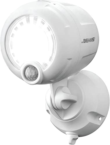 Mr. Beams Wireless 200 lm Battery-Operated Outdoor Motion-Sensor-Activated LED Spotlight, White, MB360XT-WHT-01-00