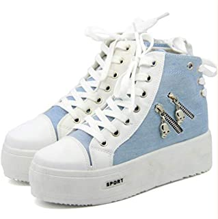 lcky Women's Sneakers high Canvas Shoes Platform Casual Shoes