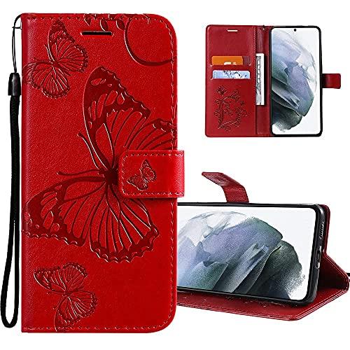 COTDINFOR Etui für Google Pixel 3A XL Hülle PU Leder Cover Schutzhülle Magnet Flip Handytasche im Bookstyle Kartenfächer Lederhülle für Google Pixel 3A XL Big Butterfly Red KT.
