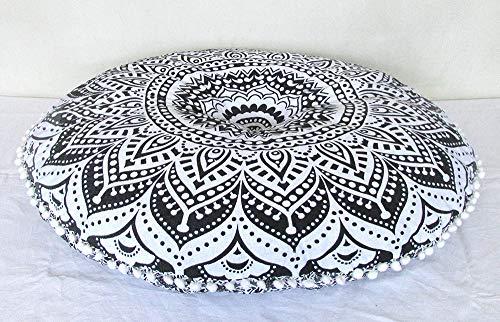 Indian Craft Castle Funda de cojín de suelo grande con diseño de mandala, color gris degradado, de 81,28 cm, para meditación o asiento otomano, estilo hippie, con cremallera, con pompones