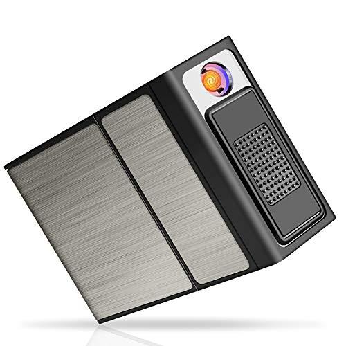 Yosemy Caja de Cigarrillo con Encendedor Cigarette Case de Aluminio Caja Cigarrillo con Mechero USB Recargable Pitillera para Mujer y Hombre, Negro