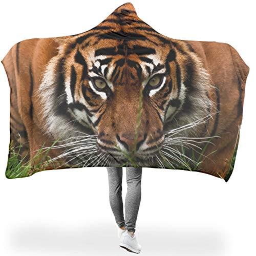 superyu Manta unisex de microfibra de gran tamaño con capucha de tigre leopardo león animal original con capucha para mujeres y hombres blanco 60x80 pulgadas